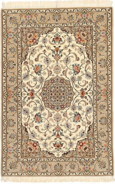 Isfahan Silk Warp Rug 110X170 Authentic  Oriental Handknotted Light Brown/Beige/Brown (Wool/Silk, Persia/Iran)