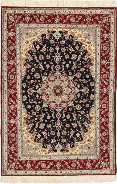 Isfahan Silkerenning Teppe 108X160 Ekte Orientalsk Håndknyttet Lysbrun/Mørk Grønn (Ull/Silke, Persia/Iran)