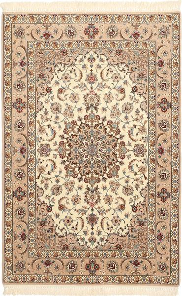 Ispahan Chaîne De Soie Tapis 106X163 D'orient Fait Main Beige/Marron Clair/Marron (Laine/Soie, Perse/Iran)