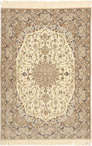 Isfahan Silkerenning Teppe 110X158 Ekte Orientalsk Håndknyttet Lysbrun/Beige (Ull/Silke, Persia/Iran)