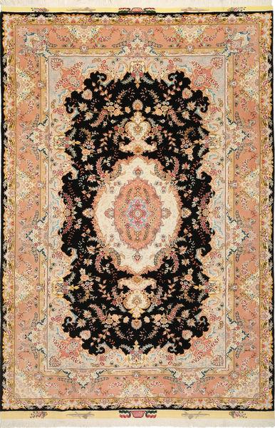 Tabriz 50 Raj Met Zijde Vloerkleed 197X291 Echt Oosters Handgeknoopt Donkerbruin/Lichtbruin (Wol/Zijde, Perzië/Iran)