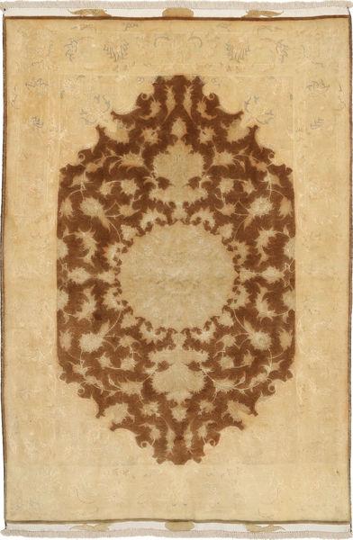 Tabriz 50 Raj Med Silke Matta 98X155 Äkta Orientalisk Handknuten Ljusbrun/Mörkbeige/Brun (Ull/Silke, Persien/Iran)