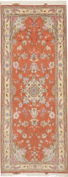 Tabriz 50 Raj Med Silke Matta 80X201 Äkta Orientalisk Handknuten Hallmatta Ljusbrun/Orange (Ull/Silke, Persien/Iran)