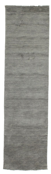 Handloom Fringes - Dark Grey Rug 80X300 Modern Hallway Runner  Dark Grey (Wool, India)