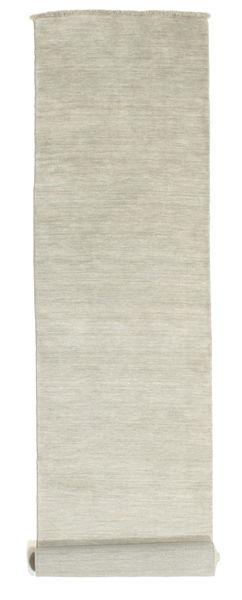 Handloom Fringes - Grå/Ljusgrön Matta 80X400 Modern Hallmatta Ljusgrå/Mörkbeige (Ull, Indien)