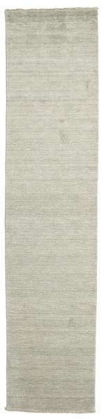 Handloom Fringes - Gris/Vert Clair Tapis 80X350 Moderne Tapis Couloir Gris Clair/Vert Pastel (Laine, Inde)
