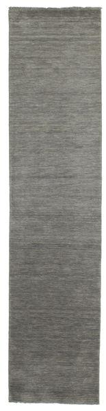 Handloom Fringes - Dark Grey Rug 80X350 Modern Hallway Runner  Dark Grey (Wool, India)