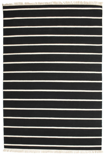 Dhurrie Stripe - Black/White Rug 200X300 Authentic  Modern Handwoven Black/Beige (Wool, India)