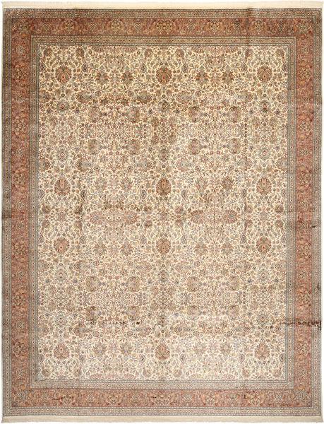 Kashmir Puur Zijde Vloerkleed 304X389 Echt Oosters Handgeknoopt Bruin/Beige/Lichtbruin Groot (Zijde, India)