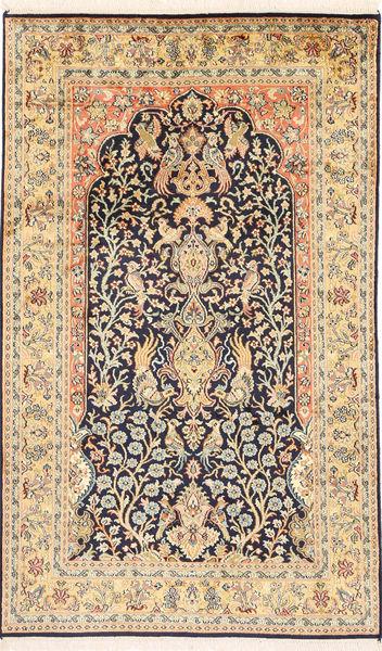 Kashmir 100% Silkki Matto 94X155 Itämainen Käsinsolmittu Vaaleanruskea/Tummanbeige (Silkki, Intia)