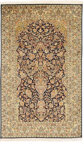 Kashmir 100% Silkki Matto 94X157 Itämainen Käsinsolmittu Vaaleanruskea/Tummanbeige (Silkki, Intia)