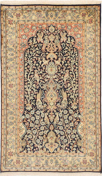 Kashmir 100% Silkki Matto 91X152 Itämainen Käsinsolmittu Vaaleanruskea/Tummanbeige (Silkki, Intia)