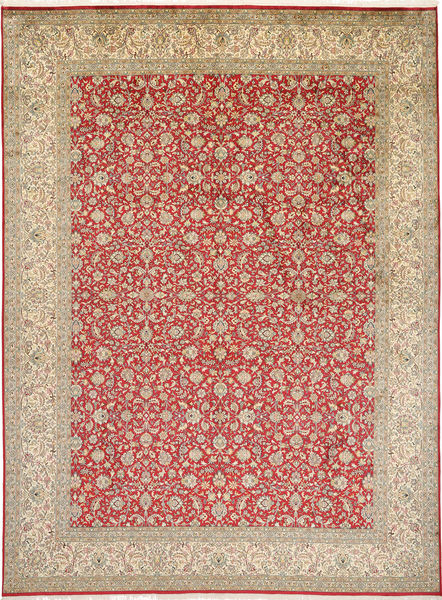 Kashmir Pure Silk Rug 246X332 Authentic  Oriental Handknotted Light Brown (Silk, India)