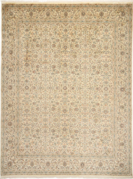 Kashmir Pure Silk Rug 271X361 Authentic  Oriental Handknotted Light Brown/Beige Large (Silk, India)