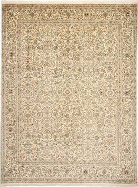 Kashmir 100% Silkki Matto 271X361 Itämainen Käsinsolmittu Vaaleanruskea/Beige Isot (Silkki, Intia)