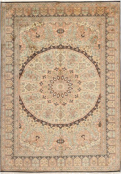 Kashmir Pure Silk Rug 176X249 Authentic  Oriental Handknotted Light Brown/Light Pink (Silk, India)