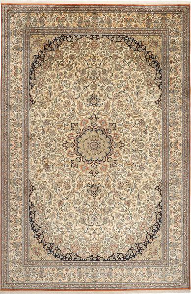Kashmir 100% Silkki Matto 214X329 Itämainen Käsinsolmittu Vaaleanharmaa/Beige (Silkki, Intia)