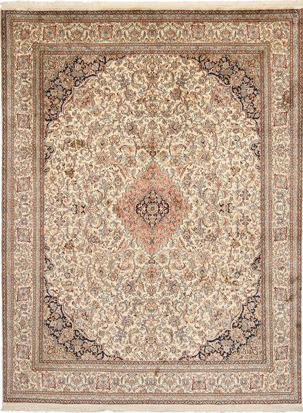 Kashmir Pure Silk Rug 197X262 Authentic  Oriental Handknotted Light Brown/Beige (Silk, India)