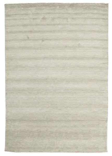 ハンドルーム Fringes - グレー/薄緑色 絨毯 220X320 モダン 薄い灰色/暗めのベージュ色の (ウール, インド)