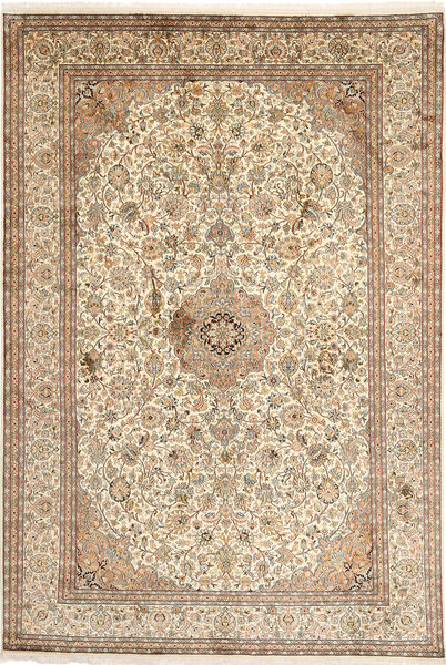 Kashmir Äkta Silke Matta 192X283 Äkta Orientalisk Handknuten Beige/Brun (Silke, Indien)
