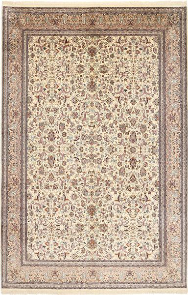 Kashmir 100% Silkki Matto 187X281 Itämainen Käsinsolmittu Beige/Ruskea (Silkki, Intia)