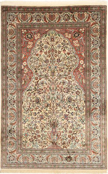 カシミール ピュア シルク 絨毯 122X192 オリエンタル 手織り 薄茶色/ベージュ (絹, インド)