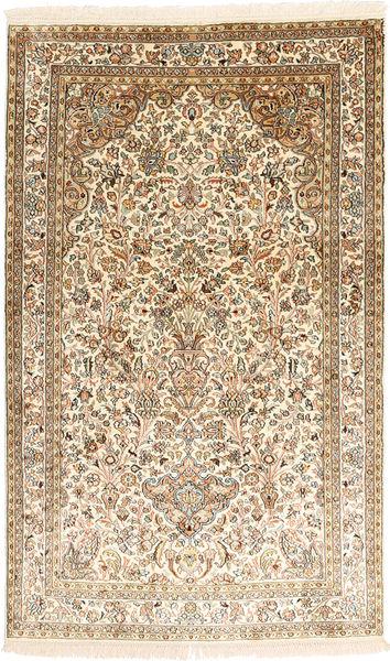 Kashmir Ren Silke Teppe 94X154 Ekte Orientalsk Håndknyttet Brun/Lyserosa (Silke, India)