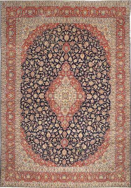 Keshan Patina Rug 340X495 Authentic  Oriental Handknotted Light Brown/Brown Large (Wool, Persia/Iran)