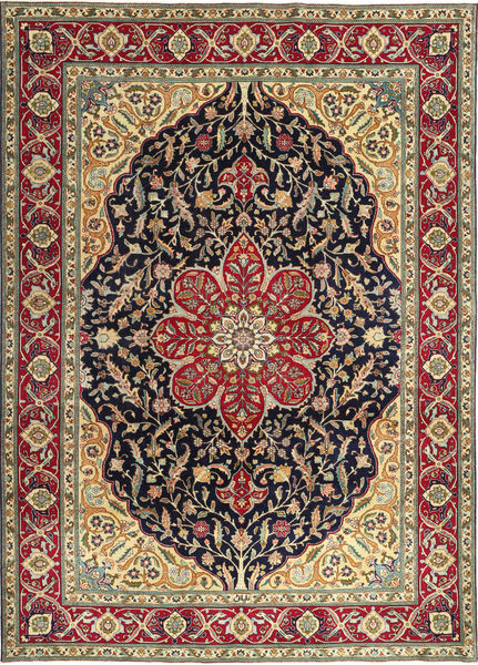 Tabriz Patina Teppe 250X348 Ekte Orientalsk Håndknyttet Brun/Mørk Brun Stort (Ull, Persia/Iran)