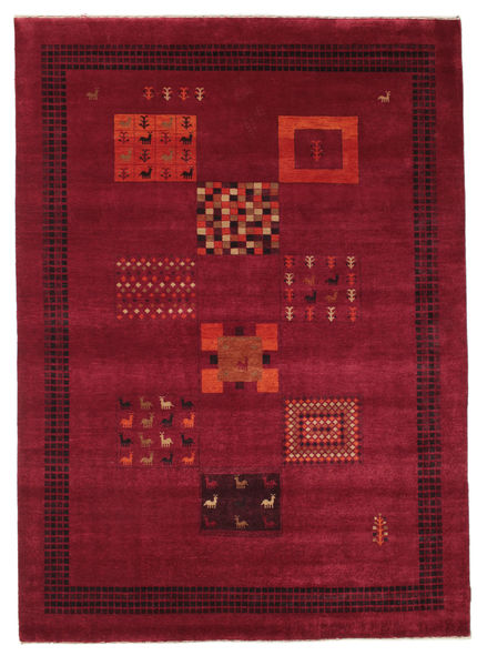 Gabbeh Loribaft Rug 198X277 Authentic  Modern Handknotted Dark Red/Crimson Red (Wool, India)