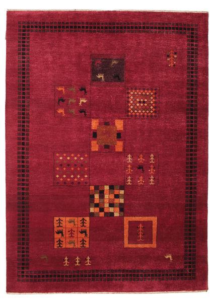 Gabbeh Loribaft Matto 154X214 Moderni Käsinsolmittu Tummanpunainen/Punainen (Villa, Intia)