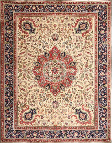 Tabriz Patina Matto 305X390 Itämainen Käsinsolmittu Vaaleanruskea/Beige Isot (Villa, Persia/Iran)