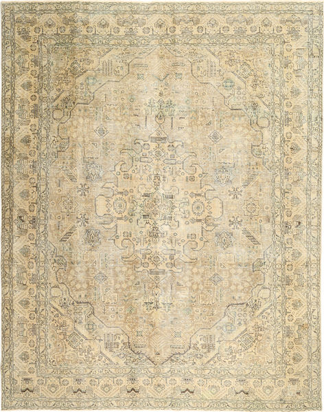 Colored Vintage Rug 300X380 Authentic  Modern Handknotted Dark Beige/Olive Green Large (Wool, Persia/Iran)