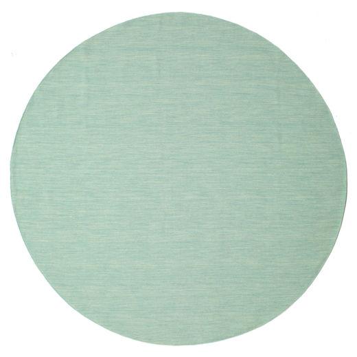 Kilim Loom - Mint Rug Ø 300 Authentic  Modern Handwoven Round Pastel Green/Light Grey Large (Wool, India)