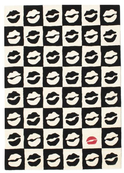 Chess Kiss Handtufted 絨毯 140X200 モダン ベージュ/黒 (ウール, インド)