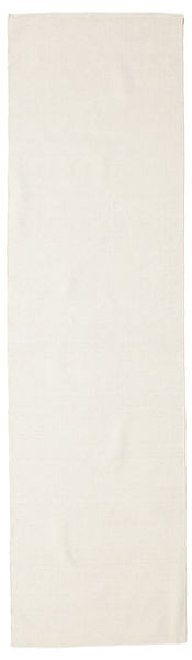 Kelim Loom - Cream Teppe 80X300 Ekte Moderne Håndvevd Teppeløpere Beige (Ull, India)