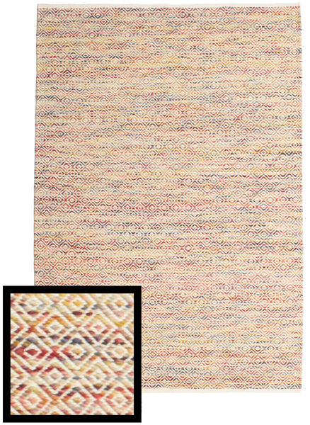 Hugo - Multi Rug 140X200 Authentic  Modern Handwoven Dark Beige/White/Creme ( India)