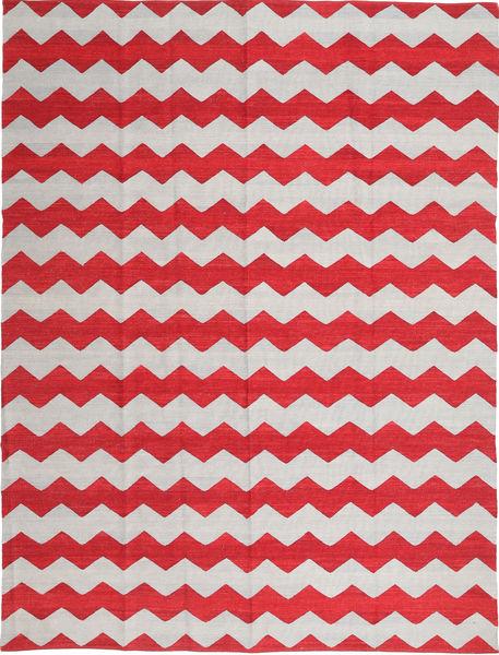 Kelim Moderni Matto 216X287 Moderni Käsinkudottu Punainen/Vaaleanharmaa/Beige (Villa, Afganistan)