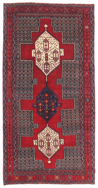 Senneh Patina Tapijt 145X299 Echt Oosters Handgeknoopt Donkerrood/Donkerpaars (Wol, Perzië/Iran)