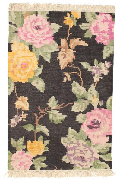 Kilim Karabakh Amira - Black/Brown Rug 100X160 Authentic  Modern Handwoven Dark Brown/Light Pink (Wool, India)