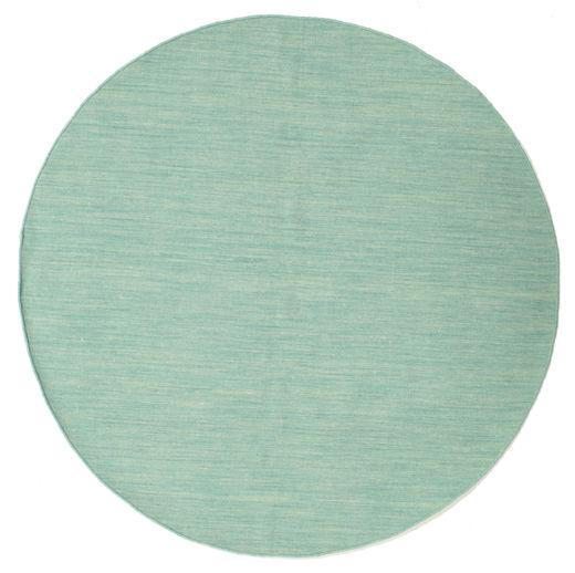 Kelim Loom - Mint Teppe Ø 150 Ekte Moderne Håndvevd Rundt Pastell Grønn/Turkis Blå (Ull, India)