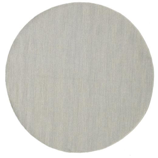 Kilim Loom - Grey Rug Ø 150 Authentic  Modern Handwoven Round Light Grey (Wool, India)