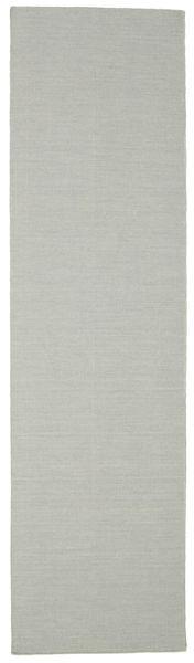Kilim Loom - Grey Rug 80X300 Authentic  Modern Handwoven Hallway Runner  Light Grey (Wool, India)