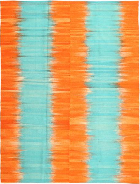 Kelim Moderni Matto 216X286 Moderni Käsinkudottu Oranssi/Siniturkoosi (Villa, Afganistan)