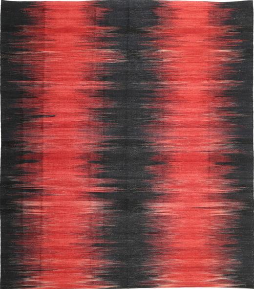 Kelim Moderni Matto 260X290 Moderni Käsinkudottu Musta/Punainen Isot (Villa, Afganistan)