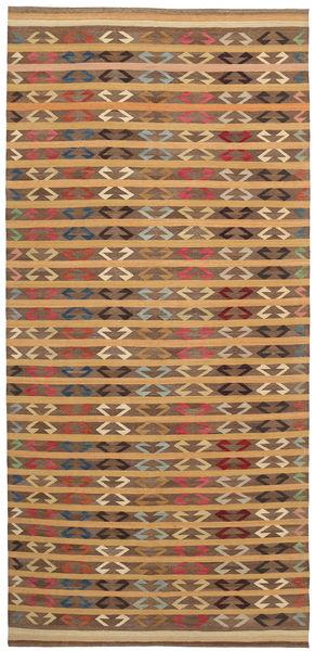 Kelim Moderni Matto 177X392 Moderni Käsinkudottu Käytävämatto Ruskea/Vaaleanruskea (Villa, Afganistan)