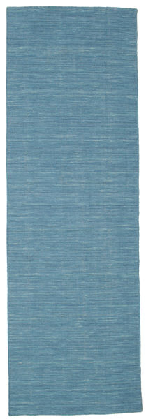 Kilim Loom - Blue Rug 80X250 Authentic  Modern Handwoven Hallway Runner  Turquoise Blue/Blue (Wool, India)