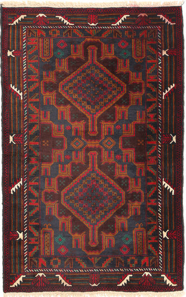 Baluch Rug 87X137 Authentic  Oriental Handknotted Black/Dark Red (Wool, Afghanistan)