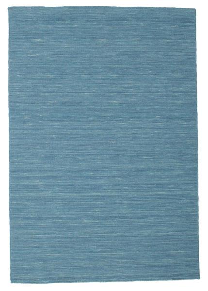 Kelim Loom - Blau Teppich  120X180 Echter Moderner Handgewebter Türkisblau/Blau (Wolle, Indien)