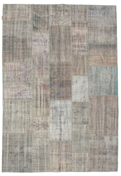Patchwork Rug 206X299 Authentic  Modern Handknotted Light Grey/Light Brown (Wool, Turkey)